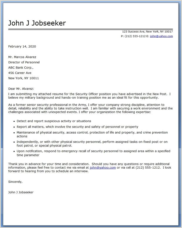 Security ficer Cover Letter