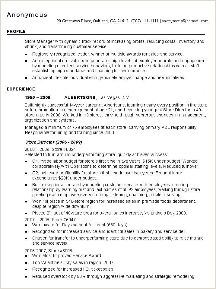 Cv format for Supervisor Job Store Manager Resume Example Quotes I Like