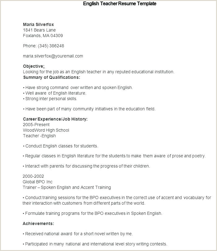Cv format for Teacher Job Doc English Cv Template