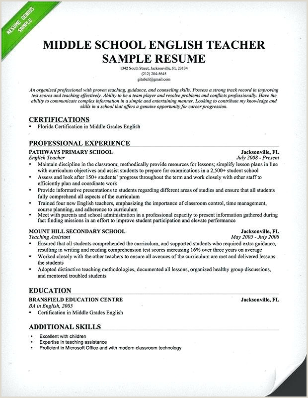 Cv format for Teacher Job Doc English Teacher Sample Resume – Growthnotes