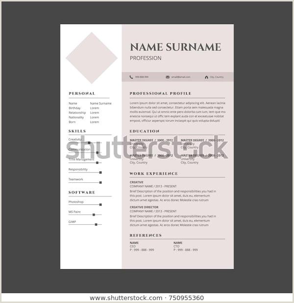Cv format for Teacher Job Image Vectorielle De Stock De Minimal Simple Elegant Resume