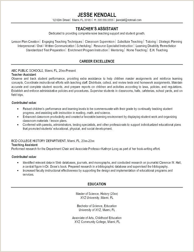 resume template for teaching job