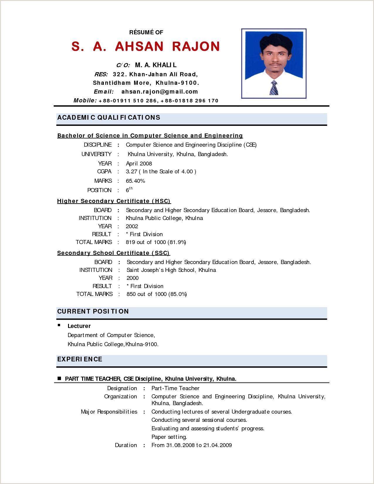 Cv format for Teacher Job Pdf Cv Template Bangladesh 1 Cv Template