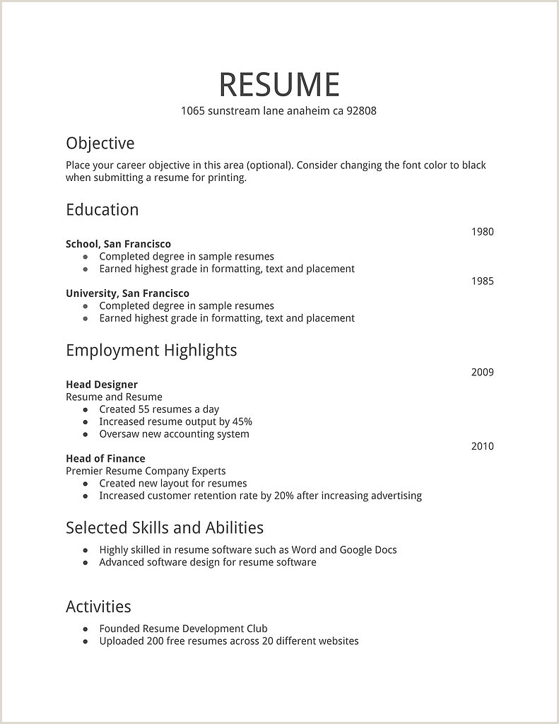 Part 2 Resume Format Examples