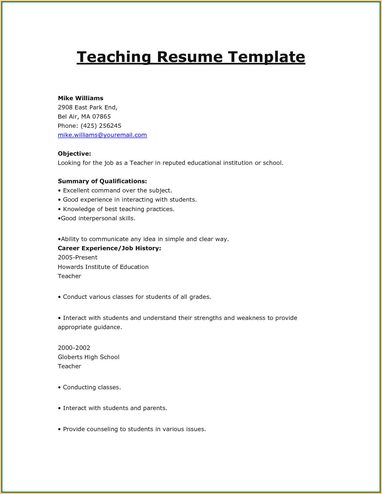 7 cv format for teaching job application
