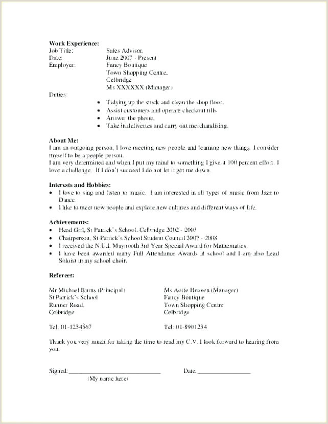 cv template for first job