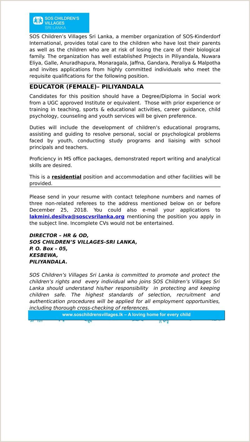 Careers SOS Children s Villages Sri Lanka