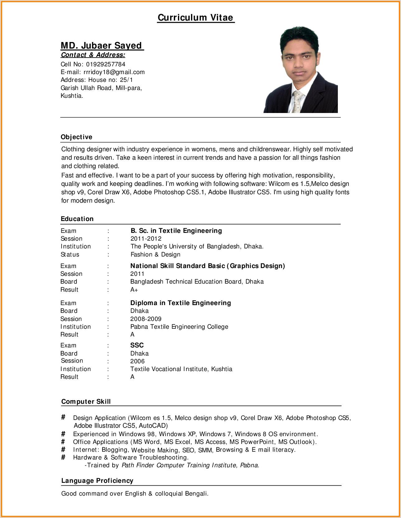 Cv format for Teaching Job Pdf Standard Cv format Bangladesh Professional Resumes Sample