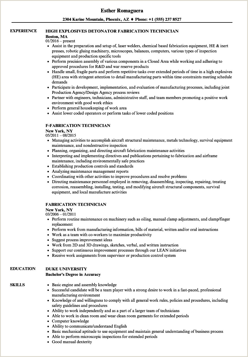 Fabrication Technician Resume Samples