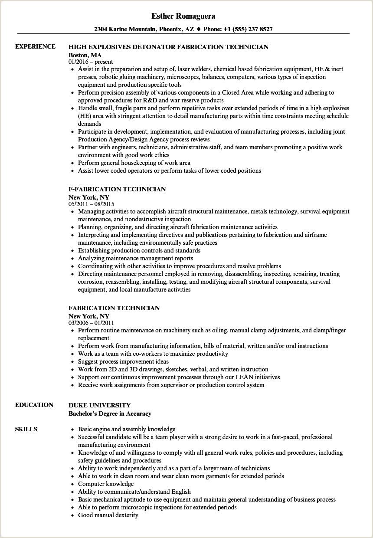 Cv format for Textile Job Fabrication Technician Resume Samples