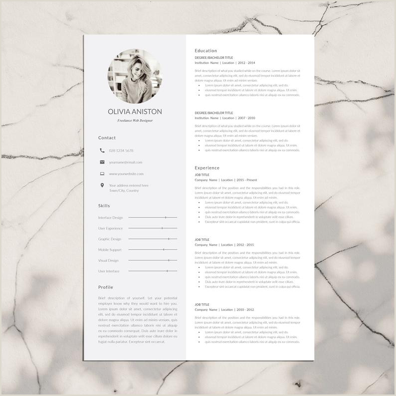 Modern and Professional Resume Template 2 Page CV Template Cover Letter for MS Word and InDesign Instant Digital Download