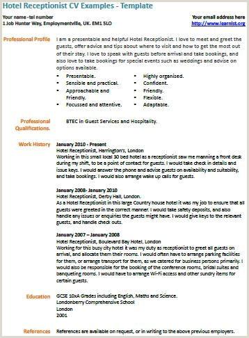 Cv format for Waiter Jobs Hotel Receptionist Cv Example Work Resumes Etc