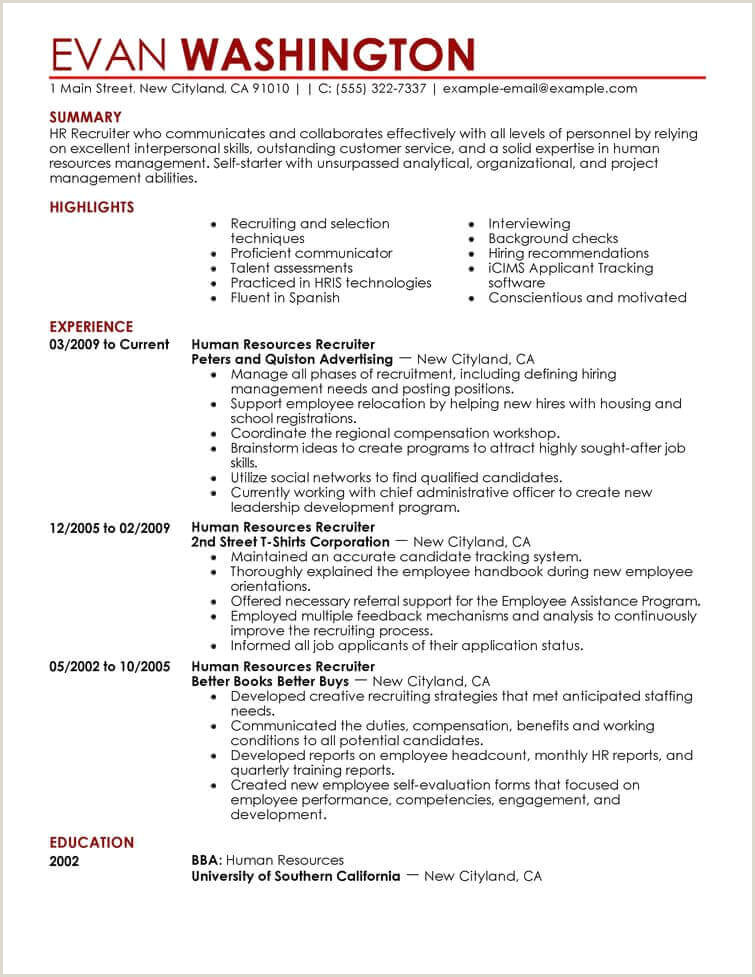 Cv format Hr Executive Fresher Amazing Human Resources Resume Examples