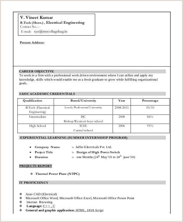 Cv format Of Fresher Electrical Engineer Engineering Resume Templates Word Resume Sample