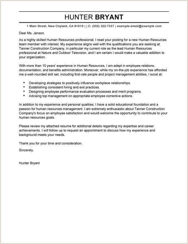 Cv format Of Hr Professional Best Human Resources Cover Letter Samples
