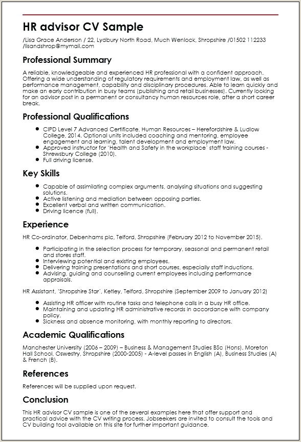 Pin By Resume Sample And Hr Template Manager Cv Word