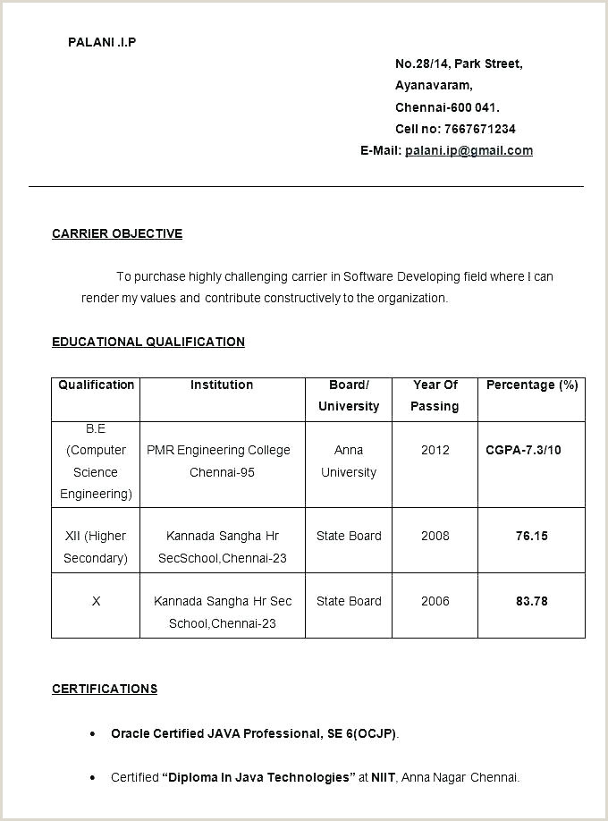 Cv format Sample Download Pdf Simple Resume format for Freshers – Wikirian