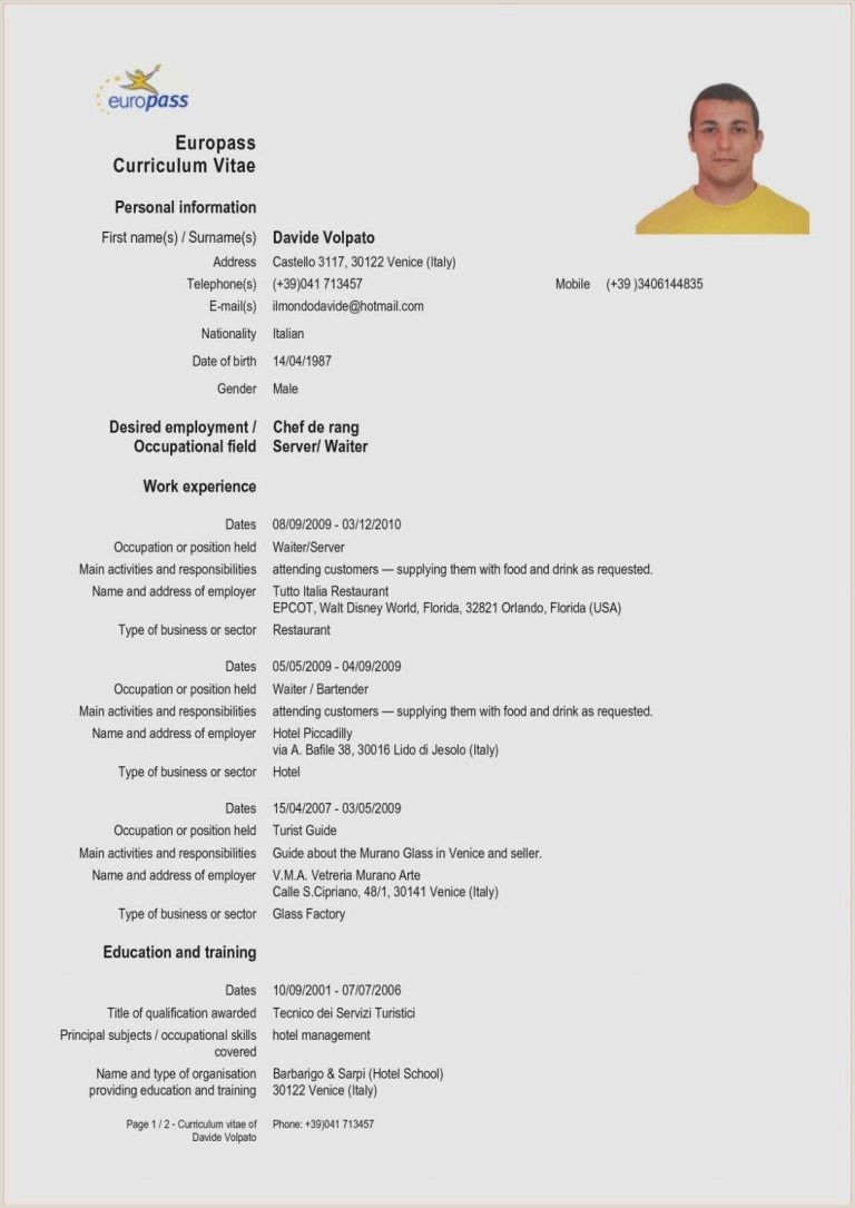 Free Resume Cover Letter Cv Template Europass English