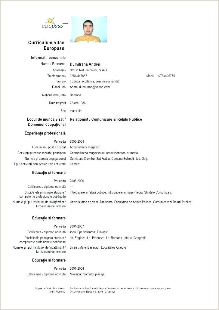 Cv In format Europass Model Europass Cv Template Doc – Hostingpremium