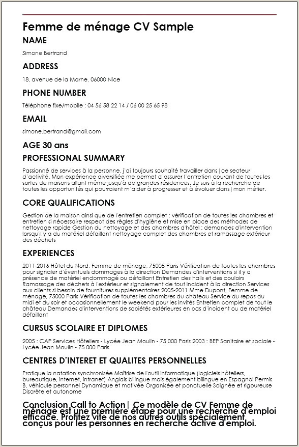 Emploi Store Cv Simple Template Cv Informatique Cv Femme De