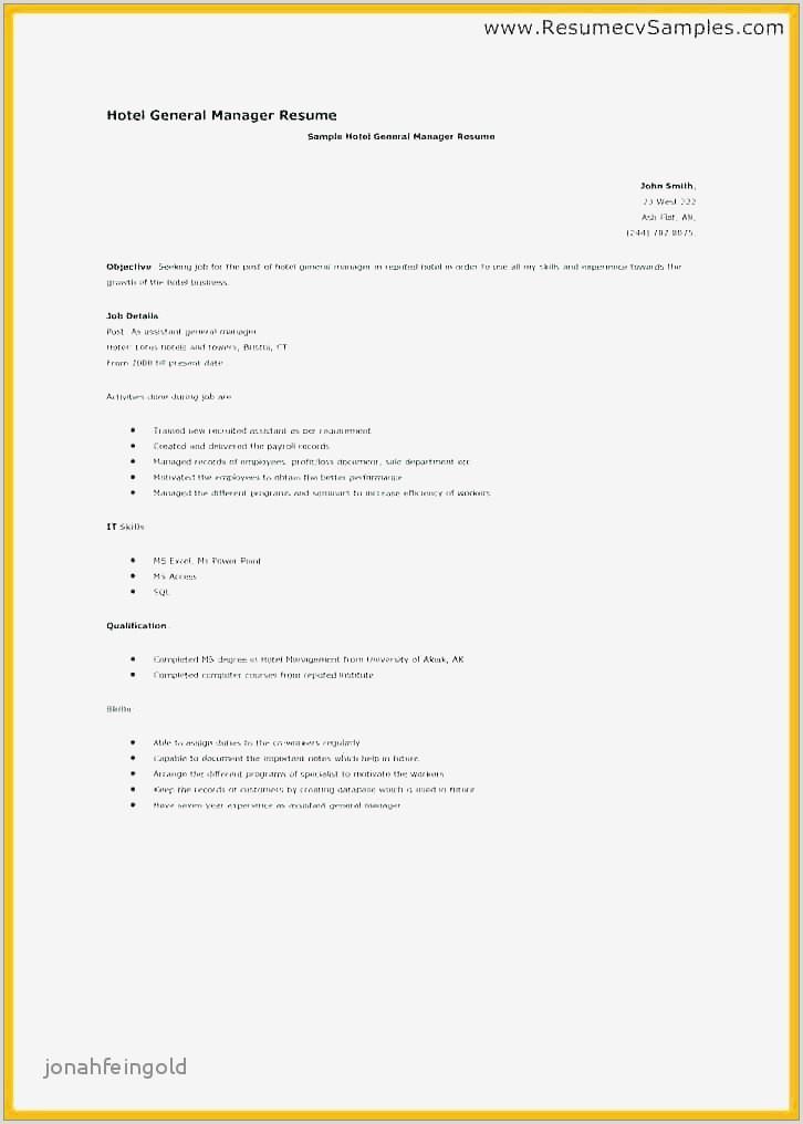 Cv Sample For Hotel Job Unique C Resume Sample