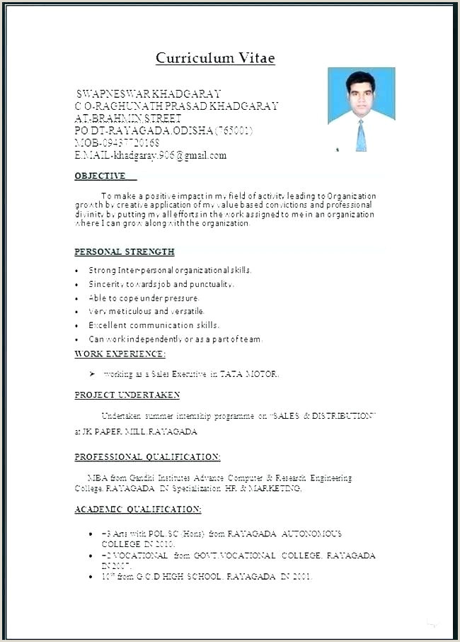 Word Download Free Cv Template Pakistan
