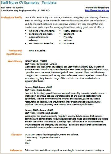 Cv Sample For Nursing Job Staff Nurse Cv Example Nursing
