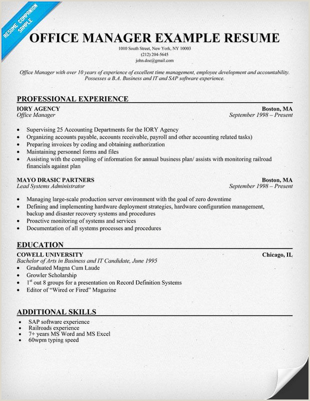 Resume Samples fice Manager Resume Example