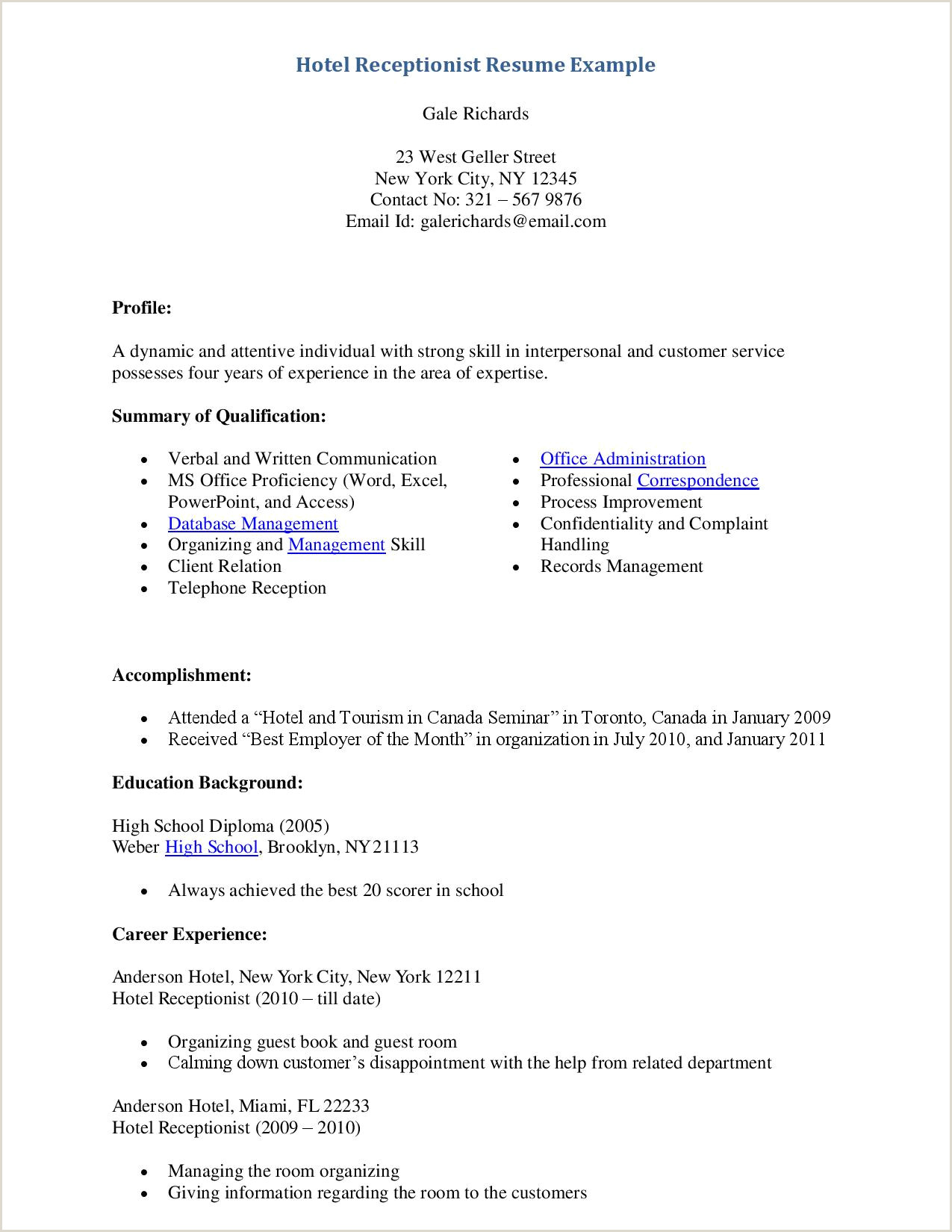 Cv Sample for Receptionist Job 10 Front Desk Receptionist Resume Sample