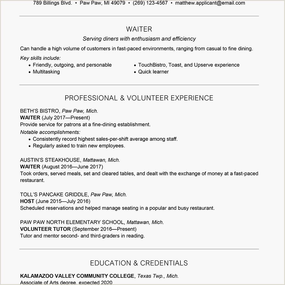 Cv Sample for Waiter Job Waiter Waitress Resume and Cover Letter Examples