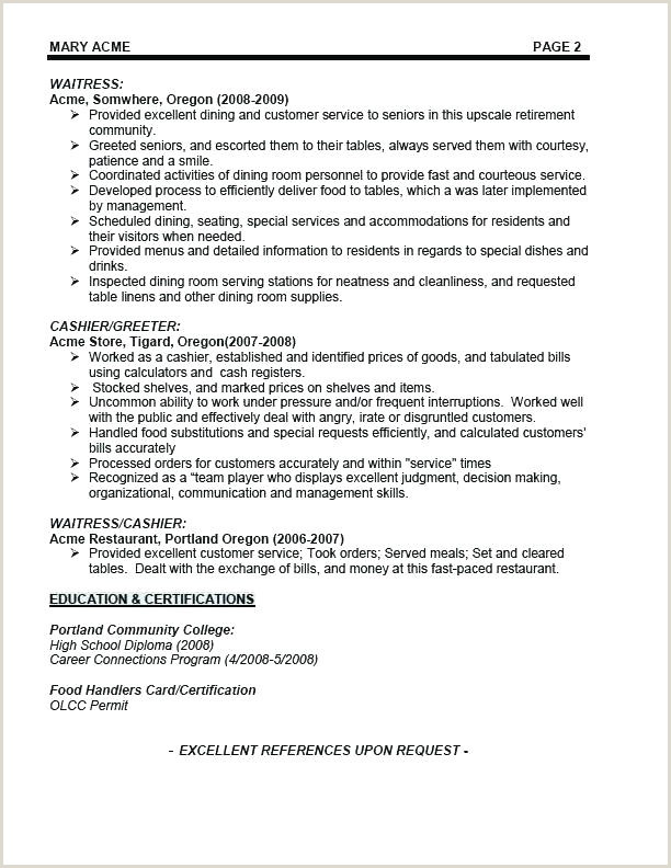 waitress resume objective – wikirian