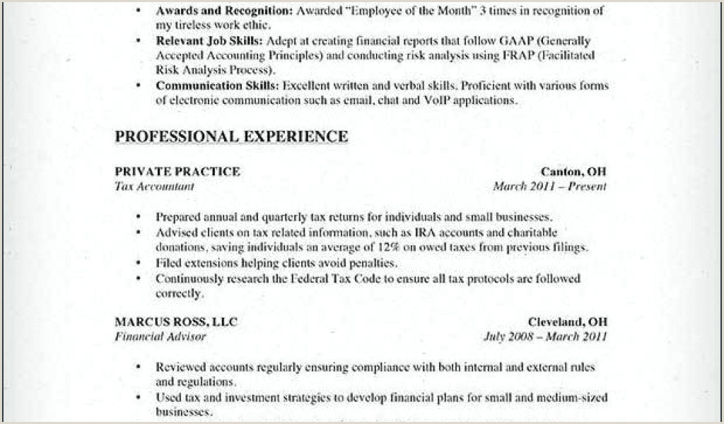 Professional Accounting Resumes Free Sample Resume for Tax