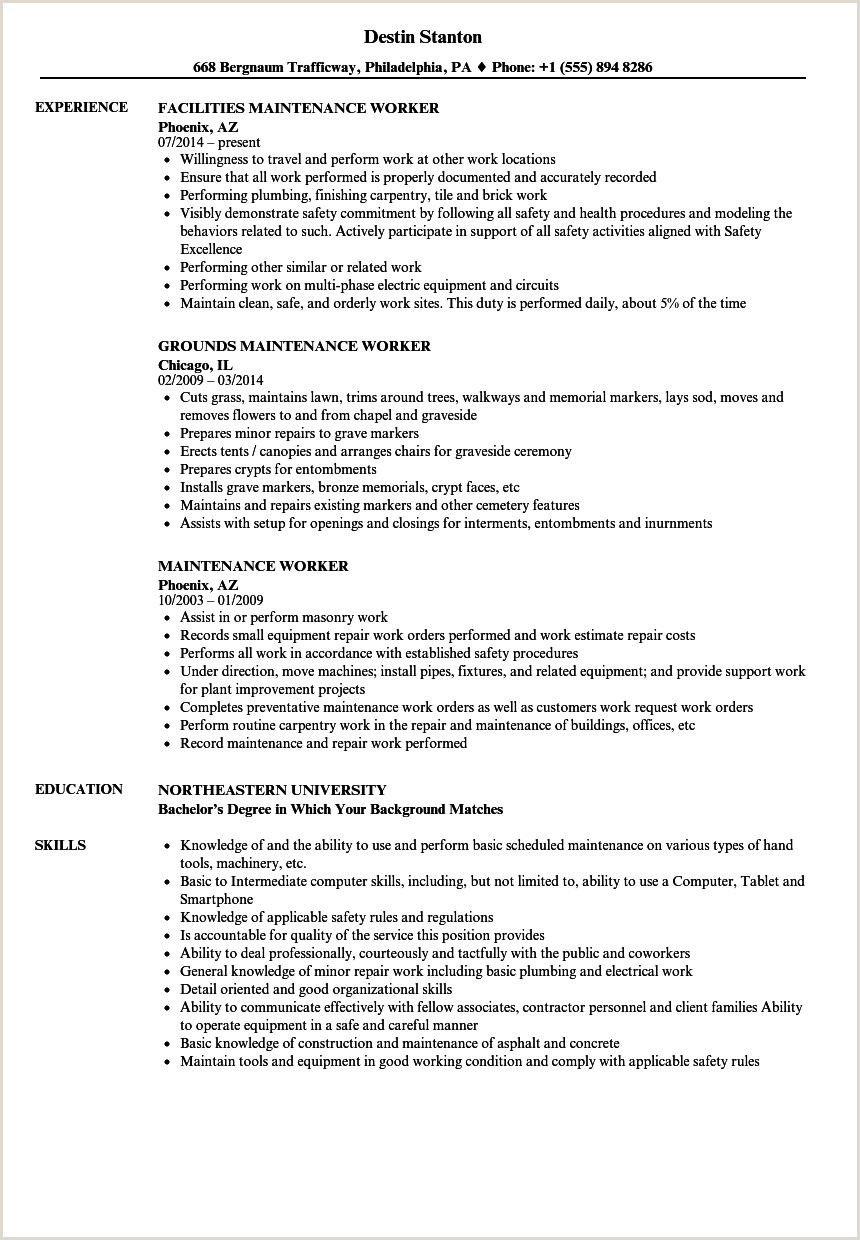 Cv Samples For Store Keeper Job Maintenance Worker Resume Samples