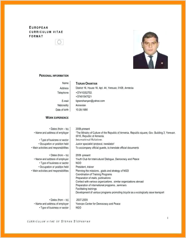 Market English Cv Template Free