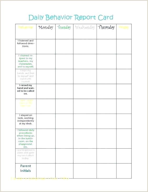 Related Post Daily Behavior Report Template Kindergarten