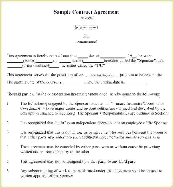 mon Law Agreement Template Instructor Contract Free Dance