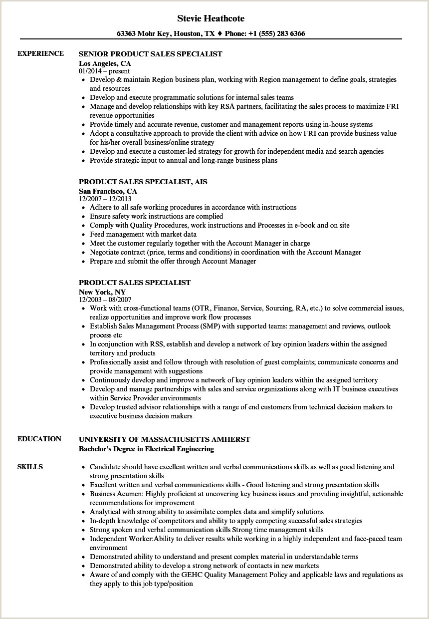 Product Sales Specialist Resume Samples