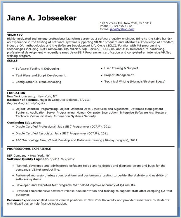 Quality Engineer 3 Resume Format