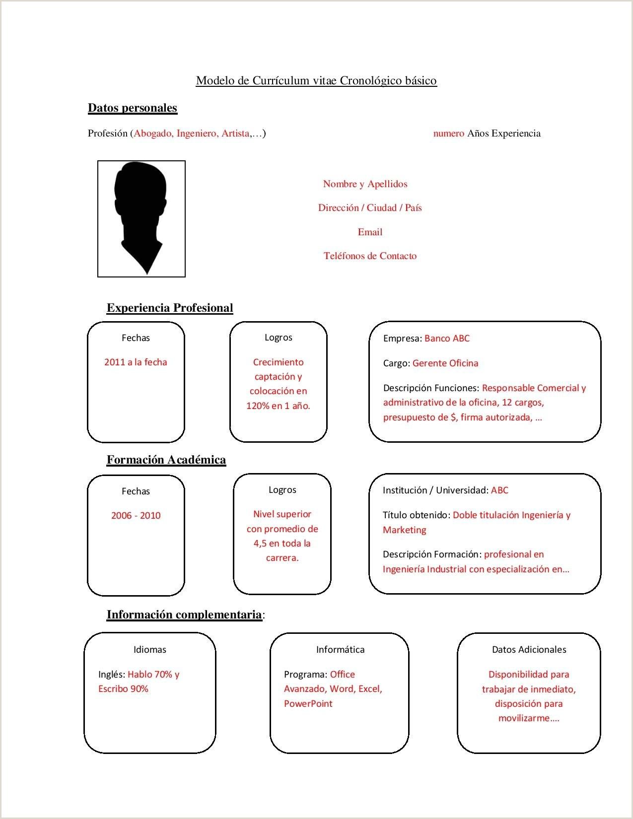 Datos Para Rellenar Un Curriculum Vitae Curriculum Vitae Plantilla Word Para Rellenar
