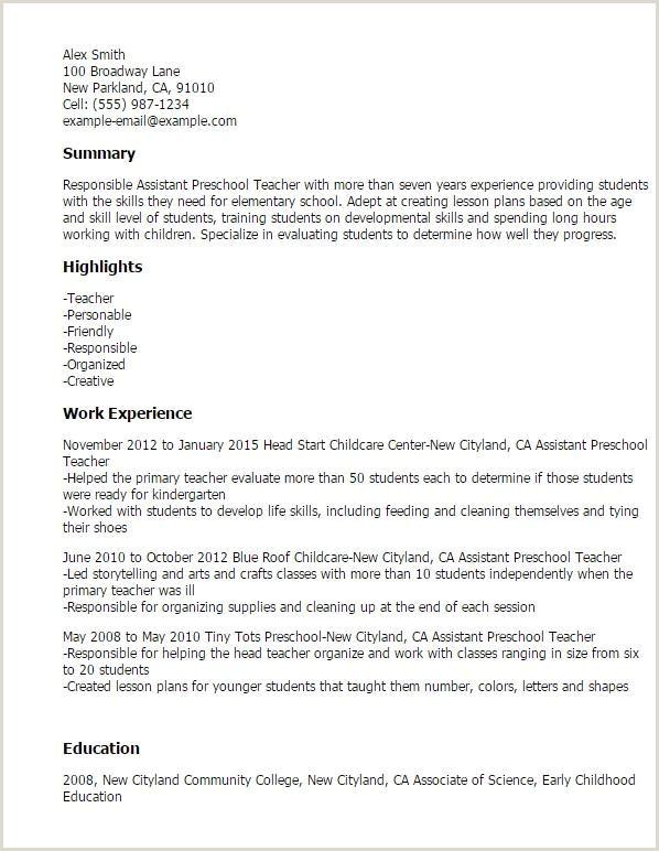 Best Resume Objective for Child Care Teacher