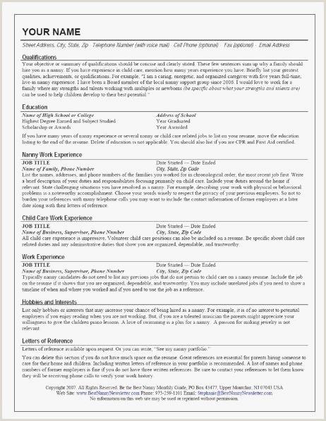 Resume For Child Care Job Resume Sample