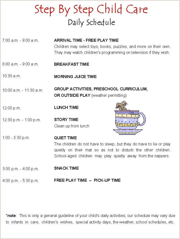 Daily Schedule Daycare Running a Home Daycare