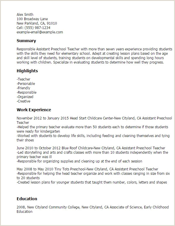 Daycare Skills for Resume Beautiful Child Care Teacher Resume