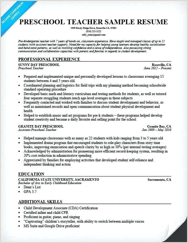 Daycare Teacher assistant Resume Preschool Teacher Resume Examples