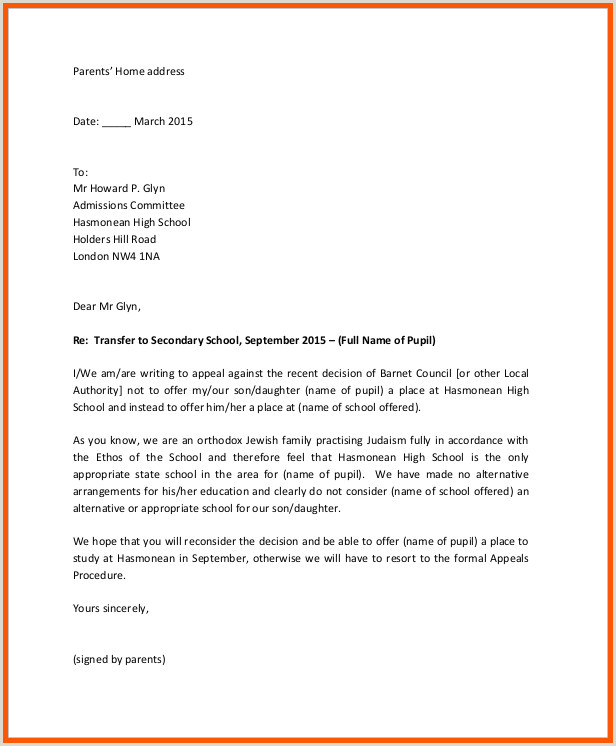 Sample Appeal Letter For School Expulsion
