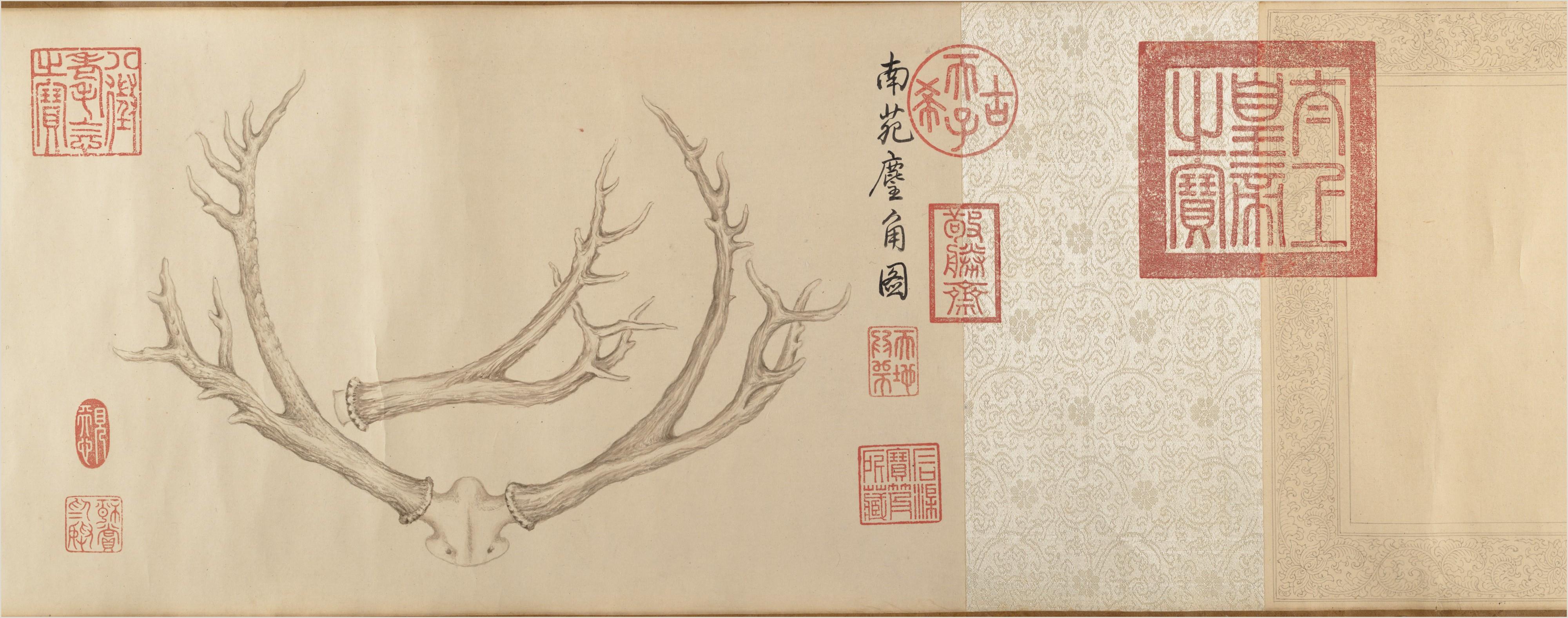 File 清 弘曆 乾隆皇帝 鹿角雙幅 卷 Two Paintings of Deer