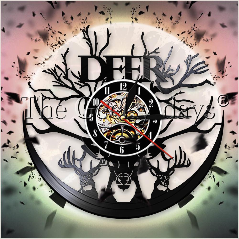 Forªt Faune Cerf Vinyle Record Horloge Murale Conception Moderne Woodland Deer Head Antlers Décor Horloge Murale Pour Hunter Cadeau