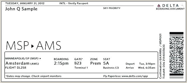 Delta Boarding Pass Template Plane Ticket Template Gift Flight Free Filename for Air Fake