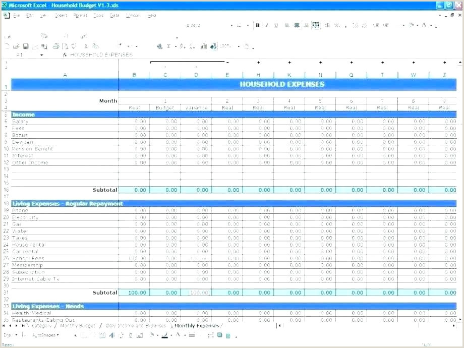 excel template planning
