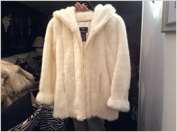 Dennis Basso from QVC beautiful ivory jacket faux fur